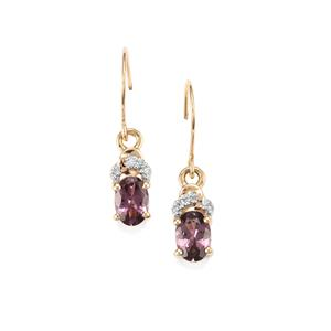 Mahenge Spinel Earrings with Diamond in 10k Gold 1.31cts