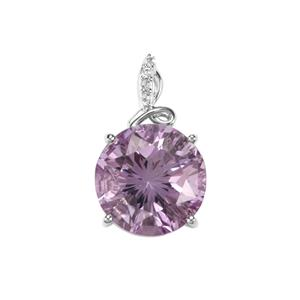 Rose De France Amethyst & White Topaz Sterling Silver Cupid Pendant ATGW 6.21cts