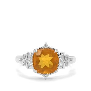 Burmese Amber & White Zircon Sterling Silver Ring ATGW 1.02cts