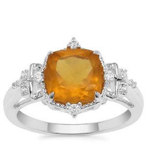 Burmese Amber Ring with White Zircon in Sterling Silver 1.02cts