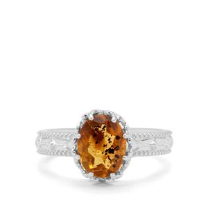 0.65ct Burmese Amber Sterling Silver Ring