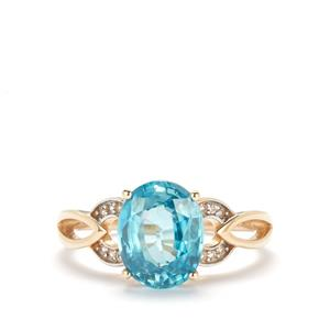 Ratanakiri Blue Zircon Ring with White Zircon in 10K Gold 3.82cts