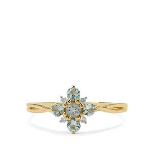 Aquaiba™ Beryl Ring with Diamond in 9K Gold 0.36ct