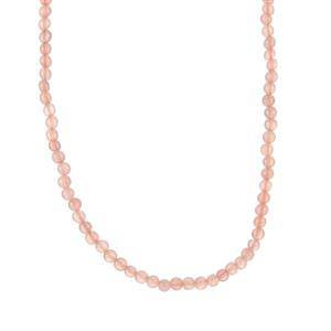 Peach Moonstone Slider Necklace in Sterling Silver 44cts