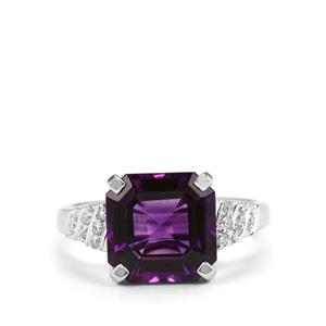 Asscher Cut Moroccan Amethyst Ring with Diamond in 18K White Gold 3.82cts