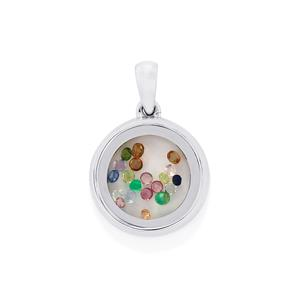 Optic Quartz Pendant with Kaleidoscope Gemstones in Sterling Silver 4.47cts