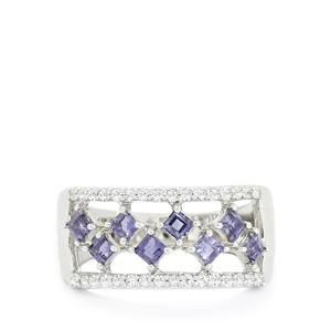 Orissa Iolite & White Topaz Sterling Silver Ring ATGW 0.98cts