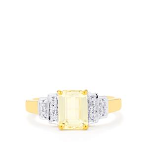Canary Kunzite Ring with White Zircon in Gold Vermeil 2.57cts