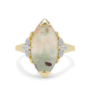 Aquaprase™ Ring with White Zircon in 9K Gold 5.07cts