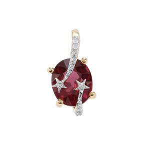 Savanna Pink Garnet Pendant with Diamond in 9K Gold 1.40cts