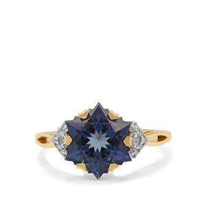 Wobito Snowflake Cut Royal Blue Topaz Ring with Diamond in 9K Gold 5.50cts