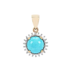 Sleeping Beauty Turquoise & White Zircon 9K Gold Pendant ATGW 2.39cts