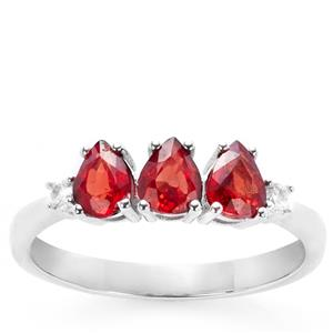 Winza Ruby Ring with White Zircon in 9K White Gold 1.11cts