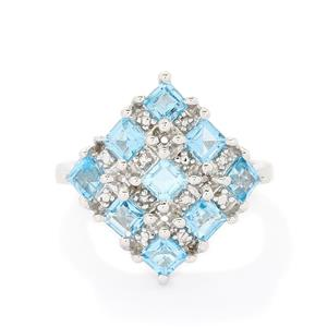 2.58ct Swiss Blue Topaz Sterling Silver Ring