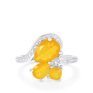 AA Honey American Fire Opal Ring with White Topaz in Sterling Silver 2.06cts