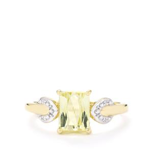 Canary Kunzite & Diamond 9K Gold Ring ATGW 1.85cts