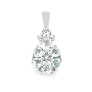 Pedra Azul Aquamarine Pendant with White Zircon in Sterling Silver 1.28cts