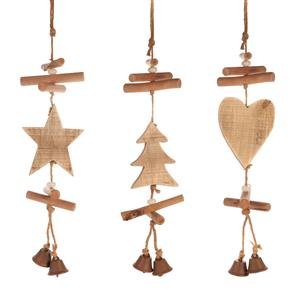 Christmas Hanging Wooden Decorations with Snow Quartz ATGW 40cts