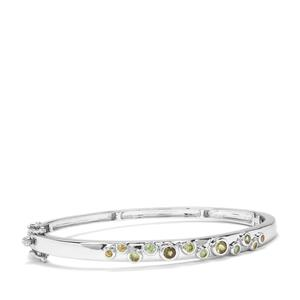 Ambanja Demantoid Garnet Oval Bangle in Sterling Silver 1.24cts