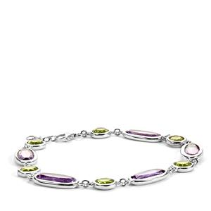 Bolivian Amethyst Bracelet with Peridot in Sterling Silver 17.65cts