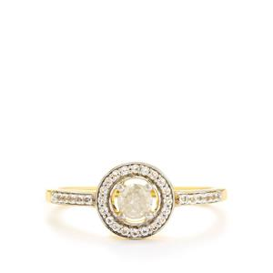 Diamond Ring with White Topaz in Gold Plated Sterling Silver 0.44ct