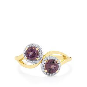 Mahenge Spinel Ring with Diamond in 14k Gold 1.22cts