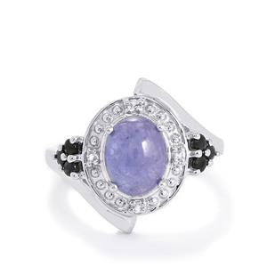 Tanzanite, Blue Sapphire Ring with White Topaz in Sterling Silver 3.12cts