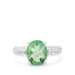 Tucson Green Fluorite Ring with White Topaz in Sterling Silver 4.63cts