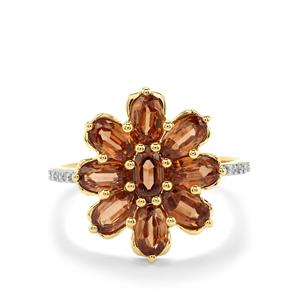 Capricorn Zircon & Diamond 9K Gold Ring ATGW 3.25cts