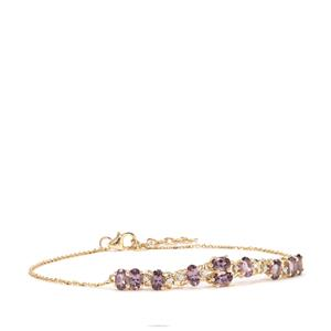 Mahenge Purple Spinel Bracelet with Diamond in 10k Gold 2.52cts