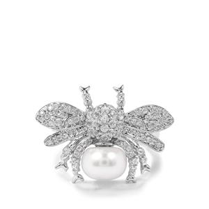 Pearl & White Zircon Sterling Bumble Bee Ring