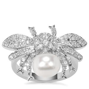 Kaori Cultured Pearl Timeless Elegance Ring with White Zircon in Sterling Silver