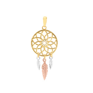 Dream Catcher Pendant in Three Tone Gold Plated Sterling Silver