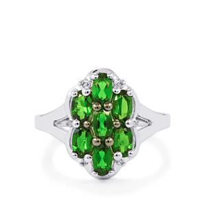 Chrome Diopside Ring with Diamond in Platinum Plated Sterling Silver 1.76cts