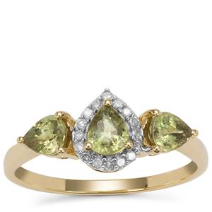 Green Dragon Demantoid Garnet Ring with Diamond in 9K Gold 1.30cts