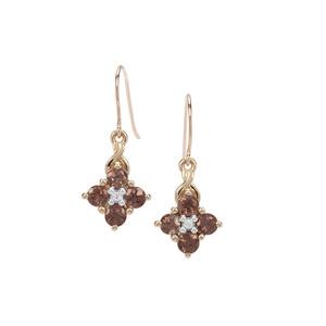 Miova LokoGarnet & White Zircon 9K Gold Earrings ATGW 1.62cts