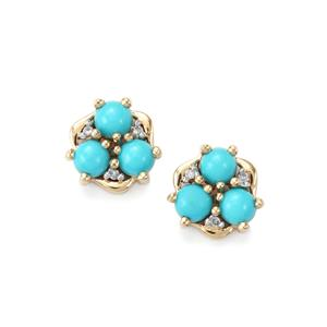 Sleeping Beauty Turquoise Earrings with Diamond in 9K Gold 1.43cts