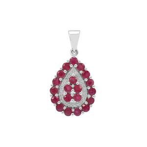Burmese Ruby Pendant with White Zircon in Sterling Silver 2.40cts