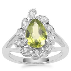 Changbai Peridot Ring with White Zircon in Sterling Silver 2.16cts