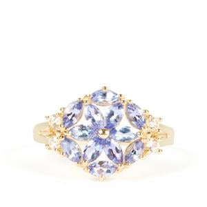 AA Tanzanite Ring with White Zircon in 9K Gold 1.39cts