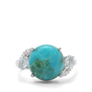 Cochise Turquoise, Blue Topaz & White Zircon Sterling Silver Ring ATGW 5.90cts