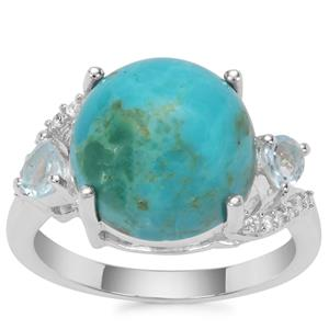 Cochise Turquoise, Blue Topaz Ring with White Zircon in Sterling Silver 5.90cts
