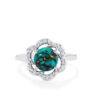 Egyptian Turquoise & White Topaz Sterling Silver Ring ATGW 2.35cts