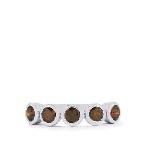 Cognac Diamond Ring in Sterling Silver 1cts