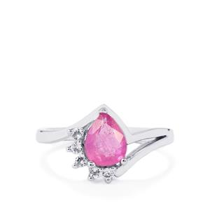 Ilakaka Hot Pink Sapphire Ring with White Topaz in Sterling Silver 1.50cts (F)