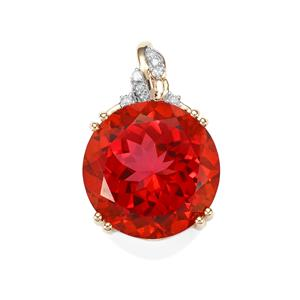 Cruzeiro Topaz Pendant with Diamond in 9K Gold 12.47cts