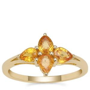Tanzanian Canary Sapphire Ring in 9K Gold 1.08cts