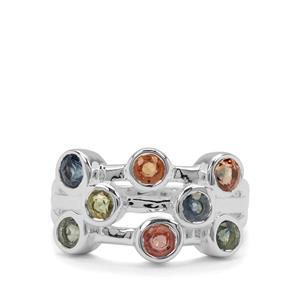 2ct Tunduru Multi-Colour Sapphire Sterling Silver Ring