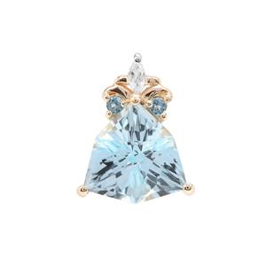Sky Blue Topaz, London Blue Topaz Pendant with White Zircon in 9K Gold 5.94cts