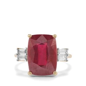 Malagasy Ruby Ring with White Zircon in 10K Gold 10.93cts (F)